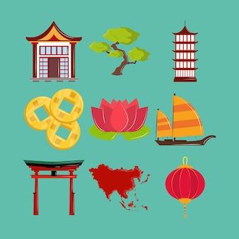 Zestaw ikon kultury azjatyckiej