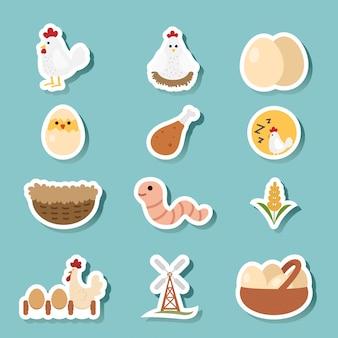 Zestaw ikon kurczaka