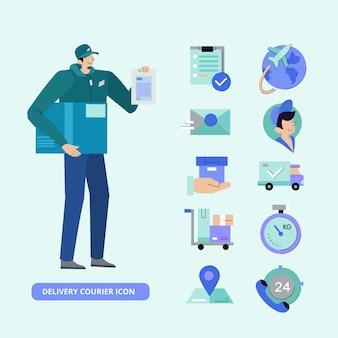 Zestaw ikon kurierskich dostawy aplikacji mobilnych