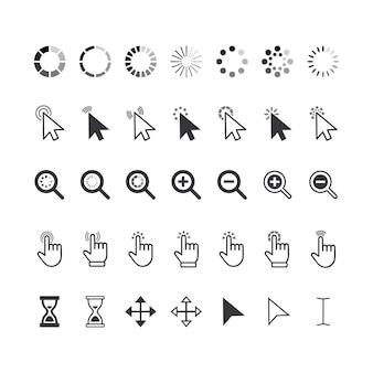 Zestaw ikon kursorów, kliknij strzałki, palce, lupy i zegary klepsydrowe. elementy graficzne do nawigacji w witrynie, wskazując piktogramy na białym tle. ilustracja wektorowa