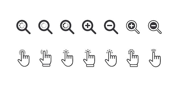 Zestaw ikon kursorów, kliknij symbole powiększenia palca i lupy. elementy graficzne do nawigacji w witrynie, wskazując piktogramy wyszukiwania informacji na białym tle. ilustracja wektorowa