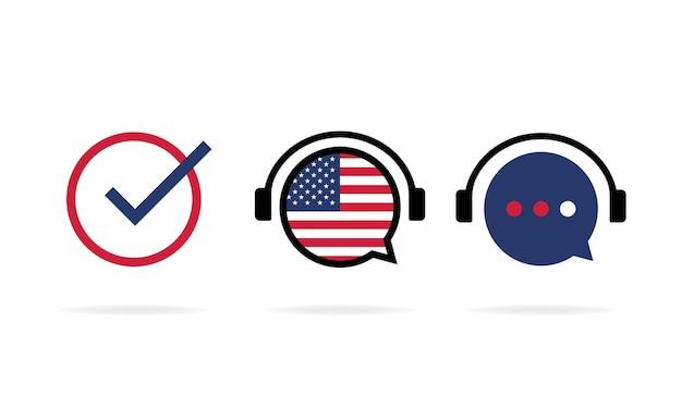 Zestaw ikon kursu amerykańskiego online. studia językowe na odległość, seminarium internetowe, zajęcia internetowe.