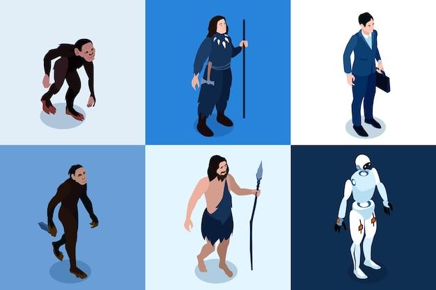 Zestaw ikon kwadratowych izometrycznych ewolucji człowieka od małpiego naczelnego do zaawansowanej technicznie ilustracji kreskówki postaci robota
