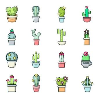 Zestaw ikon kwiat kaktusa
