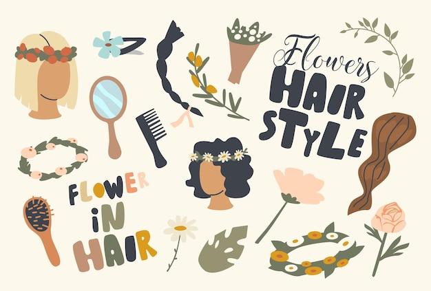 Zestaw ikon kwiaty fryzurę tematu. wianek, lokówka i grzebień z bukietem kwiatów i ręczne lusterko z wsuwką