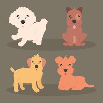 Zestaw ikon ładny psy