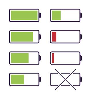 Zestaw ikon ładowania baterii