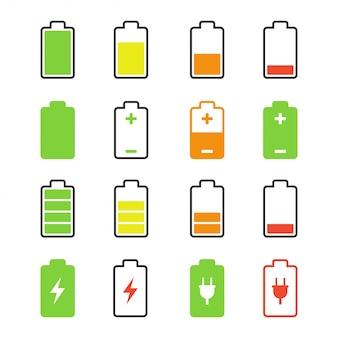 Zestaw ikon ładowania i rozładowywania zestawu baterii