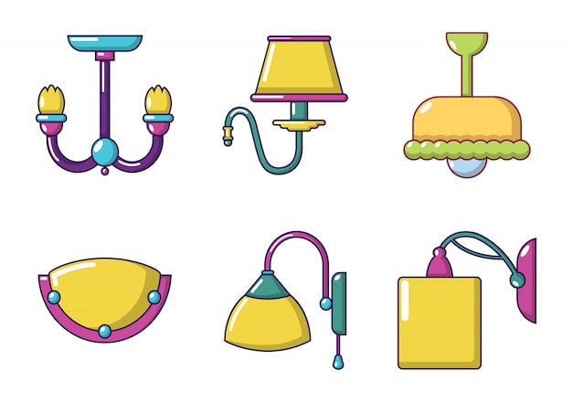 Zestaw ikon lamp pokojowych. kreskówka set izbowej lampy wektorowe ikony ustawiać odizolowywać