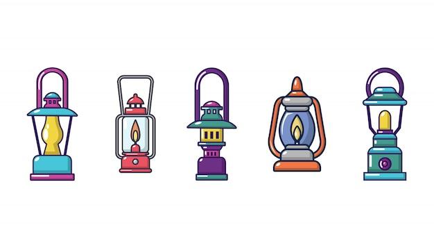 Zestaw ikon lampy turystyczne. kreskówka ustawiająca turystyczne lampowe wektorowe ikony ustawiać odizolowywać