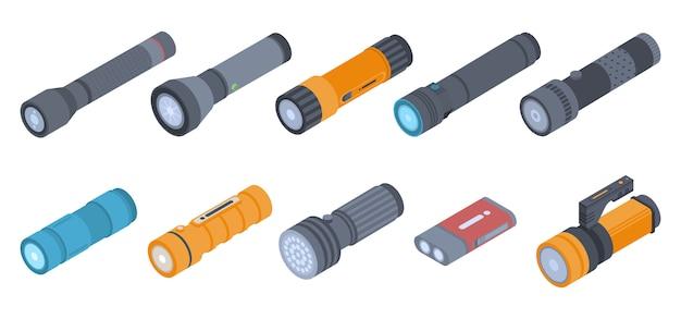 Zestaw ikon latarki. izometryczny zestaw ikon wektorowych latarki na projektowanie stron internetowych na białym tle