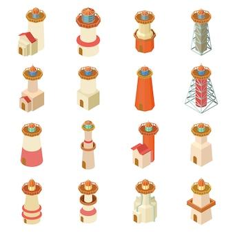 Zestaw ikon latarni morskiej. izometryczne ilustracja 16 ikon wektorowych latarni dla sieci web