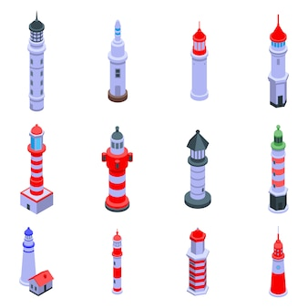 Zestaw ikon latarni morskiej