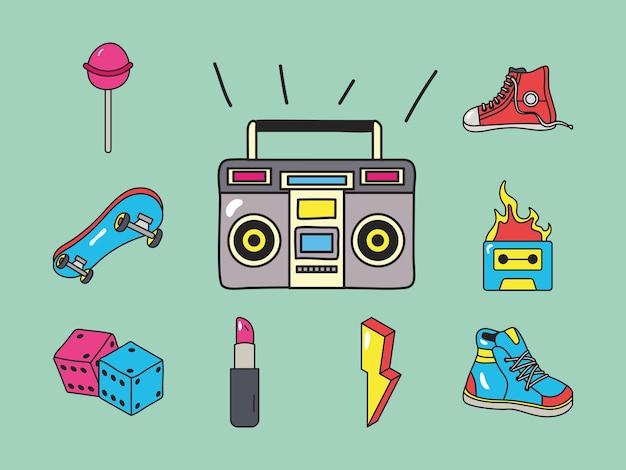 Zestaw ikon łatek radia i lat 90-tych
