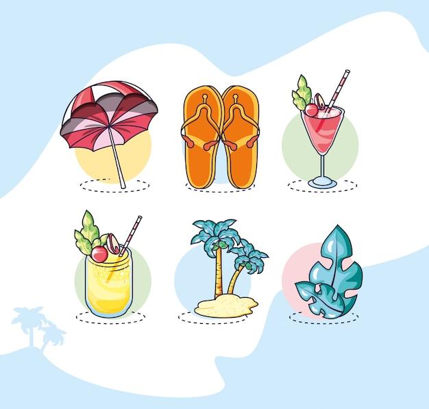 Zestaw ikon lato i wakacje