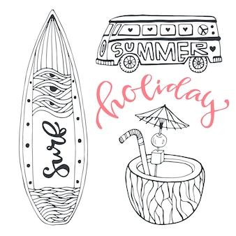 Zestaw ikon lato wakacje na plaży