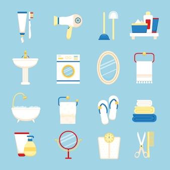 Zestaw ikon łazienki