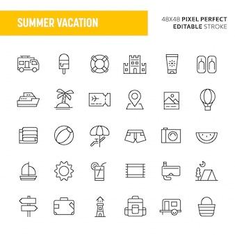 Zestaw ikon letnie wakacje