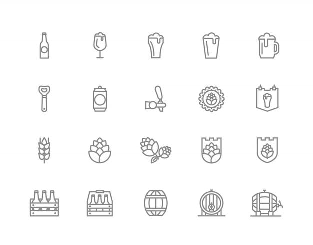 Zestaw ikon linii bar i pub. alkohol, butelka, jęczmień i inne.