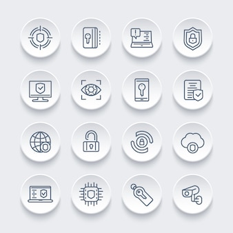 Zestaw ikon linii bezpieczeństwa i ochrony, bezpieczne przeglądanie, cyberbezpieczeństwo, prywatność