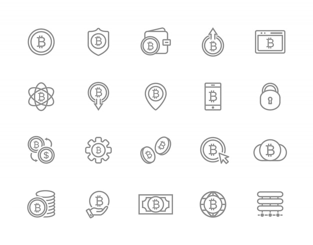 Zestaw ikon linii bitcoin. inwestycje, portfel, wymiana i więcej.