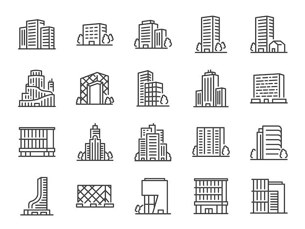 Zestaw ikon linii budynku.