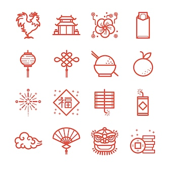 Zestaw Ikon Linii Chiński Nowy Rok. Premium Wektorów