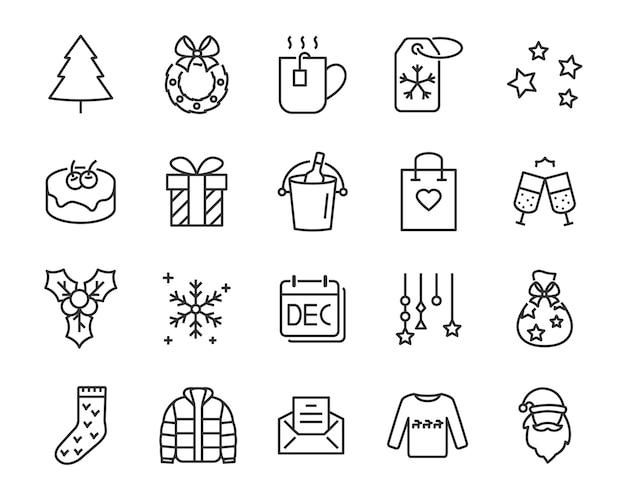 Zestaw ikon linii chistmas, takich jak pudełko, prezent, zima