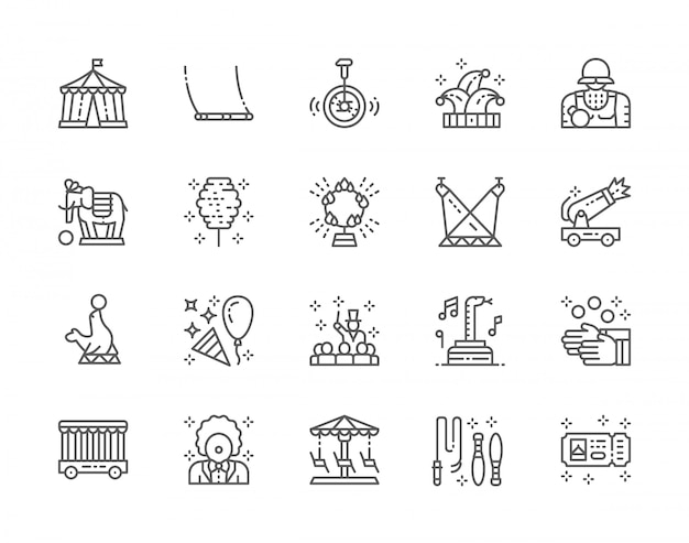 Zestaw ikon linii cyrkowych. clown, swing, jester hat, elephant, fur seal, juggler i wiele innych.
