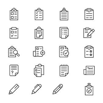 Zestaw ikon linii dokumentu schowka