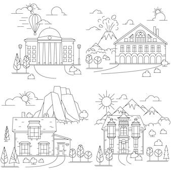 Zestaw ikon linii dom w krajobrazie przyrody z górami, wulkanem i skałami