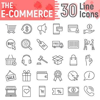 Zestaw ikon linii e commerce, kolekcja symboli sklepu internetowego