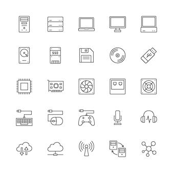 Zestaw ikon linii elementów komputerowych. jednostka systemowa, konsola, serwer i inne.