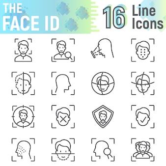 Zestaw ikon linii face id, kolekcja symboli rozpoznawania twarzy