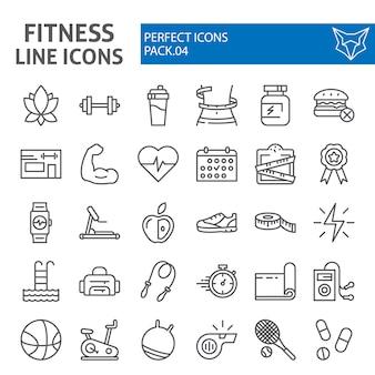 Zestaw ikon linii fitness, kolekcja sportowa