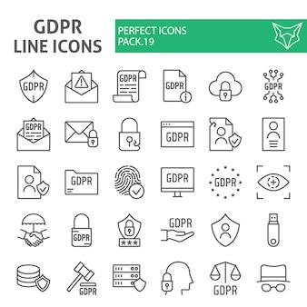 Zestaw ikon linii gdpr, zbiór ogólnych przepisów dotyczących ochrony danych