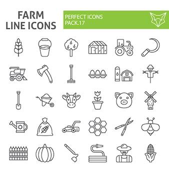 Zestaw ikon linii gospodarstwa, kolekcja rolnictwa