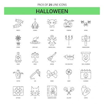 Zestaw ikon linii halloween - 25 przerywanych styl linii