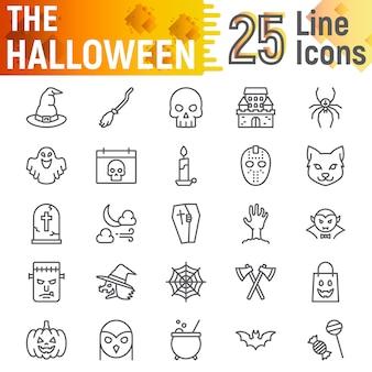 Zestaw ikon linii halloween, kolekcja upiornych symboli