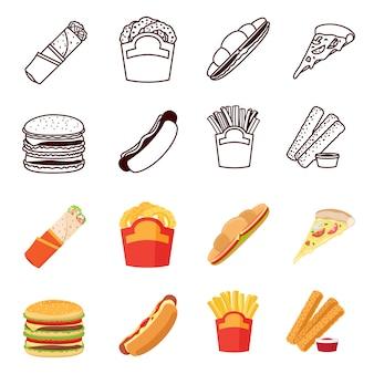 Zestaw ikon linii i płaskie fastfood