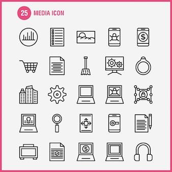 Zestaw ikon linii ikona mediów