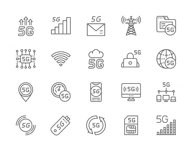 Zestaw ikon linii internetowych 5g.