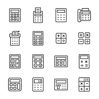 Zestaw ikon linii kalkulatora