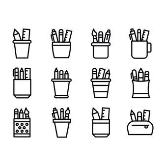 Zestaw ikon linii kartonów