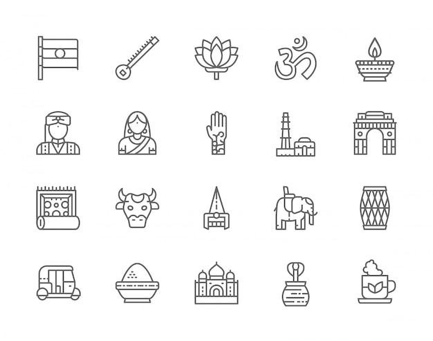 Zestaw ikon linii kultury indyjskiej. elephant, tuk tuk car, cobra, sitar, mantra, oil lamp, animal i nie tylko.