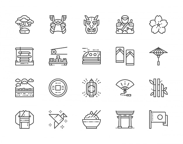 Zestaw ikon linii kultury japońskiej. drzewo bonsai, katana, sushi, kimono i inne.