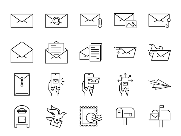 Zestaw ikon linii mailowej.