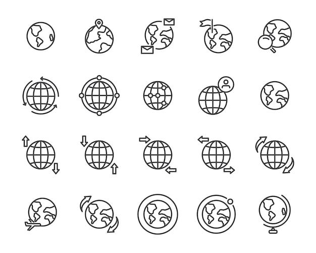 Zestaw ikon linii mapa świata