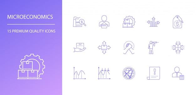 Zestaw ikon linii mikroekonomii