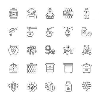 Zestaw ikon linii miodu. pszczelarz, strój ochronny, pasieka, ul i inne.